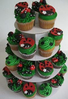 Ladybug cupcake tower by Kati's Kupcakes Miraculous Ladybug Party, Ladybug 1st Birthdays, Lady Bug, Ladybug Cakes, Take The Cake, Fancy Cakes, Cupcake Cakes, Rose Cupcake, Cup Cakes