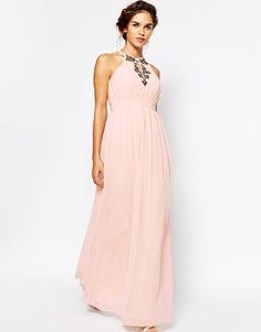 Enlarge Little Mistress High Neck Embellished Maxi Dress