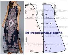 Vestido azul royal estampado - Moldes Moda por Medida Quem não gosta de ter no guarda-roupa um vestido azul royal estampado para dias mais formais? A ilustração do molde de vestido não inclui valor de costura, o valor de costura tem que ser acrescentado.