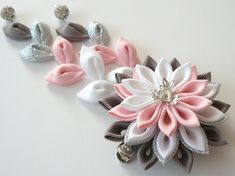 Kanzashi Fabric Flower hair clip with falls. Pink kanzashi hair clip. Japanese hair flower. Geisha's hair piece. by JuLVa on Etsy
