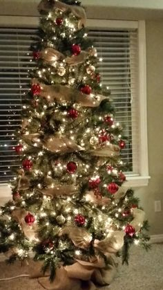 Red,gold,and Burlap Christmas Tree