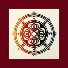 "Dharma Wheel ~ Cloth Print with Fabric Trim    This 13""x 13"" cotton print with a 2"" double folded maroon cloth border depicts the Dharma Chakra, the Symbol of Universal and Spiritual Law. Its spokes represent the Noble Eight-Fold Path. In the center is a Double Dorje, the adamantine symbol of sovereign power and indestructible mind."