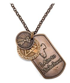 """The set of bronze medallions includes a disc with the Mandarin for Serenity, a Browncoat medallion with the star cut out in the shape of a Firefly in-world dog tag, and a dog tag shape with Serenity's silhouette and the phrase """"I Aim to Misbehave"""" on it. Geek Jewelry, Cute Jewelry, Silver Jewelry, Jewellery, Firefly Images, Firefly Quotes, Firefly Jewelry, Star Trek Voyager, Firefly Serenity"""