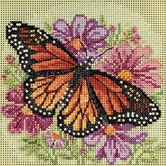 Winged Monarch Butterfly Beaded Counted Cross Stitch Kit Mill Hill 2015 Buttons�