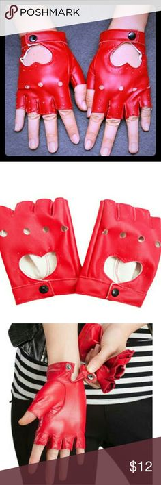 Heart Cutout Fingerless Motocycle Gloves in Red + Surprise freebies with every purchase! + NWOT Brand new, never used. They didn't come with tags. These ladies punk/biker style, fingerless gloves are crafted out of red, PU leather with a heart cutout on the back of each hand. Snap closure at the wrist. Palm circumstance approx. 19cm.  * Bundle 3 or more listings and save 15% * Accessories Gloves & Mittens