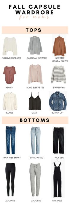 A Fall Capsule Wardrobe For Moms Capsule Wardrobe Examples, Capsule Wardrobe Mom, Mom Wardrobe, Capsule Outfits, Fashion Capsule, Fall Wardrobe, Wardrobe Ideas, Fall Fashion Trends, Autumn Fashion