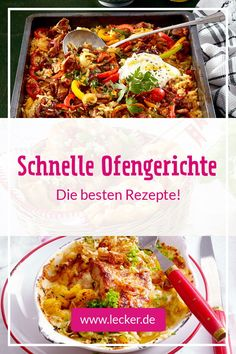 Schnelle Ofengerichte – echte Ruck-zuck-Wohlfühlessen Fast oven dishes are true feel-good foods for which you have only little time to plan! From pizza, casserole, recipes from a tin and Co. Easy Dinner Recipes, New Recipes, Easy Meals, Cooking Recipes, Nutritional Value Of Rice, Fat Foods, Recipe For 4, Diy Food, Healthy Drinks