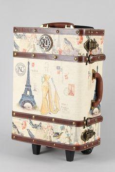 decoupage train case | Beautiful Vintage Paris Pink Train Case ...
