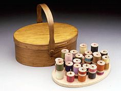 """$57 or $75 Shaker Swing Handle Box w/ or w/o spool insert (cheaper is w/o)  9 3/8"""" x 6 1/2"""" x 4"""" high  W/ or w/o the Spool Insert that has 22 brass pins to hold bobbins + thread (great for embroidery kit) +  turned cherry handle, on a base of clear Eastern white pine."""