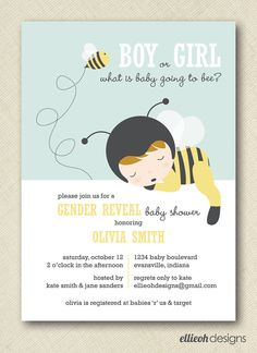 gender reveal baby shower invite doublesided by ellieohdesigns, $15.00
