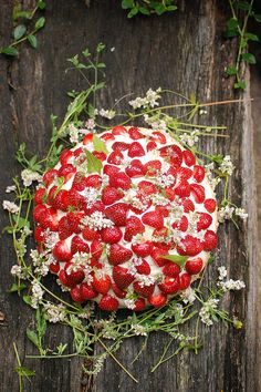 By: Chelsea Fuss Inspired by the sweet strawberry cakes that Swedes make during their Midsummer holiday each year, we came up with this festive wedding cake! It's perfect for an outdoor, rustic wedding. You can make the cake yourself, or simply embellish a store bought cake using our styling inspiration. It's easy and such a unique idea!  (Photo via Project Wedding)