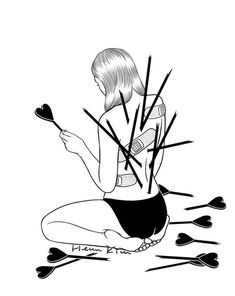 Korean artist Henn Kim creates minimalist black and white illustrations of those moments we feel lost in our own loneliness after a breakup. Sad Drawings, Pencil Art Drawings, Art Sketches, Cool Art Drawings, Art And Illustration, Black And White Illustration, Heartbroken Drawings, Heartbroken Art, Heartbreak Art