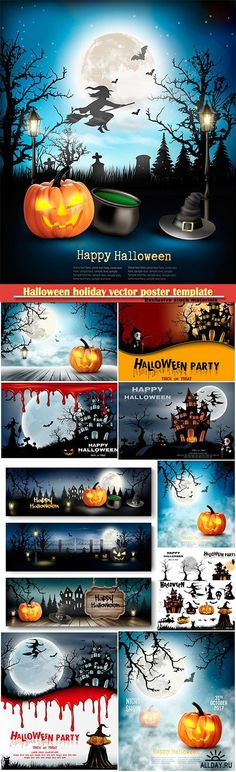 Halloween holiday vector poster template with pumpkin and moon