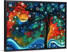 """First Snow Fall"" by Megan Duncanson. Colorful whimsical tree art from GreatBIGCanvas.com"
