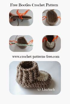 10 minute Easy Crochet Booties Pattern | Free Crochet Patterns and Designs by LisaAuch ༺✿ƬⱤღ✿༻