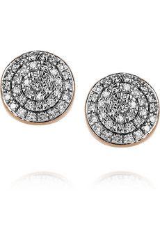 Monica Vinader  18-karat rose gold-vermeil diamond earrings