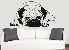 Pug Silhouette Wall Vinyl Stickers Dog Chinese Dutch Pet Transfer Decal Mural
