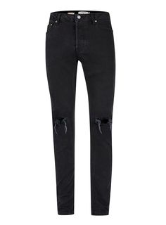 e16b0ec75409 Washed Black Ripped Stretch Skinny Jeans - Men s Jeans - Clothing - TOPMAN  USA Bekleidung