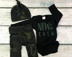 Baby boy coming home outfit/new to the crew set/going home set/baby boy charcoal stripe set