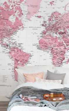 Executive political world map pinterest wallpaper murals wall pink and white world map wall mural gumiabroncs Images