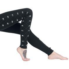 """#Leggings neri """"Gothic Lady Lace"""" della collezione Gothicana by EMP con D-ring in metallo e lacci intrecciati laterali."""