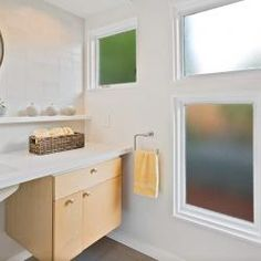 I like the shelf under the mirror, over the tile wall/backsplash