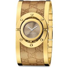 Gucci Twirl Goldtone Stainless Steel  Metallic Leather Bangle Bracelet... ($1,050) ❤ liked on Polyvore featuring jewelry, watches, accessories, gold, bangle watches, bangle bracelet, hinged cuff bracelet, leather wrist watch and stainless steel bangles