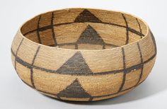 Mission Indian basket, made by Maria Antonia (Frank's Ranch, San Diego County, California), before 1910. Sumac coiled on a deergrass bundle foundation, design in black-dyed juncus.
