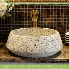 Shengjiang factory European antique style Chinese original porcelain bathroom design vessel sink imitating riverstones texture cream white with dark brown spots and hand carved fine lines Home Decor Signs, Unique Home Decor, Vintage Home Decor, Wash Basin Counter, Counter Top, Wood Tile Texture, Brown Spots, Vessel Sink, Cream White