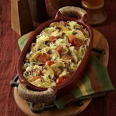 """Mushroom Primavera with Spaghetti Squash - Winter squash is higher in carbs -  (1 cup of """"Squash, winter, spaghetti, cooked, boiled, drained, or baked"""", Total Carbohydrates 10.01 g .... Dietary Fiber 2.17 g"""