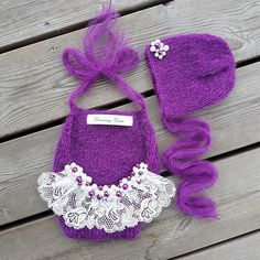 Newborn Girl Photo Outfit, Baby Girl Photo Prop, Baby Photo Prop, Infant Prop, Baby Girl Props, Newborn Photo Prop, Baby Gift, Newborn Girl Dark purple baby girl mohair outfit and matching bonnet set, decorated with lace and hand beaded pearls. Beautiful gift for a newborn baby girl