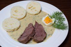 Koprová omáčka podle pana Šroubka recept - TopRecepty.cz Czech Recipes, Ethnic Recipes, Diy Food, Hummus, Mashed Potatoes, Steak, Treats, Dishes, Cooking