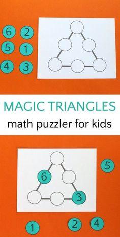 Magic triangle math puzzle for kids.