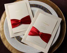 50 Pcs Vintage Ivory Wedding Invitation With Red Ribbon, Refresh & Elegant Wedding invites, Ship Worldwide 3-5 Days -- Set of 50
