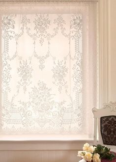 The Downton Abbey collection by Heritage Lace. Cotton rich Aristocrat lace curtain panels add exceptional style to your space! #window #home #decor