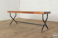 The Pipe:: 19S Pipe Desk, Pipe Table, Industrial Pipe, Industrial Design, Wood Ideas, Diy Ideas, Galvanized Pipe, Pipe Shelves, Pipe Furniture