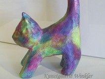 Katze Skulptur abstrakt bemalt Acrylmalerei Figur