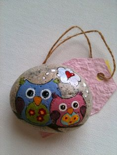 FREE SHIPPING Mommy and Baby Owl Hand Painted by Fernblossomstudio