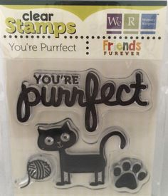 "We R Memory Keepers Friends Furever ""You're Purrfect"" Cat-Themed Clear Acrylic Scrapbooking Stamp by SimplyCraftSupplies on Etsy"