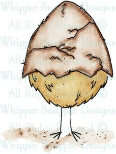 Cracked Egg - Chickens - Animals - Rubber Stamps - Shop