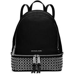 Michael Michael Kors Black Rhea Zip Medium Grommet Backpack (1.535 RON) ❤ liked on Polyvore featuring bags, backpacks, black, rucksack bag, zip backpack, zipper bag, backpacks bags and knapsack bags