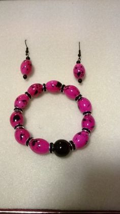 Pink and Black Set Pink and Black     LOVE33 - Jewelry on ArtFire