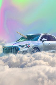 Picture uses clouds, the Audi a unicorn horn, and a psychedelic backdrop. This collaboration was done by an artist named Ceros Audi Q3, My Dream Car, Dream Cars, Car Goals, Sexy Cars, My Ride, Marketing, Fast Cars, Muscle Cars