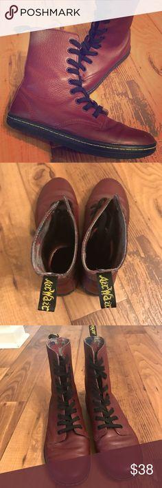 Maroon Dr. Martens Used dr.Martens boots. Floral detail inside boot. Dr. Martens Shoes Combat & Moto Boots