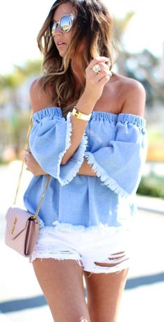 #spring #outfits Blue Off-the-shoulder Top & White Ripped Denim Short