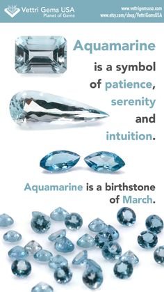 Aquamarine is a birthstone of March. Aquamarine symbolizes patience, serenity and intuition. Amethyst Jewelry, Birthstone Jewelry, Gemstone Jewelry, Crystals And Gemstones, Stones And Crystals, Natural Gemstones, Gem Stones, Aquamarine Stone, Minerals