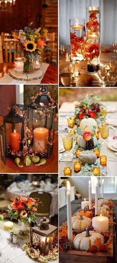 Autumn centre pieces festive array of seasonal autumnal offerings fall wedding centerpieces ideas with candles by carlani junglespirit Gallery