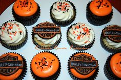 my father in law would love these! Cute Cupcakes, Cupcake Cookies, Harley Davidson Cake, Motorcycle Cake, Incredible Edibles, Fondant Cakes, Party Cakes, Let Them Eat Cake, Biker Birthday