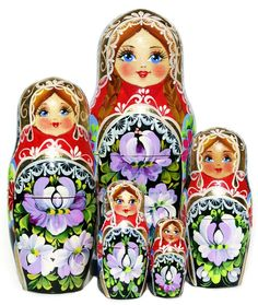 Floral summer blooms are hand painted on a 5 piece Russian nesting doll. This Stella flower matryoshka is Great Russian Gifts exclusive item. Shop now.