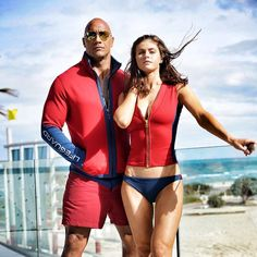 Dwayne Johnson and Alexandra Daddario in Baywatch (2017) - Click to expand